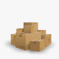 3d pile boxes cargo delivery, vector illustration