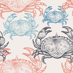 Seamless pattern with crabs.