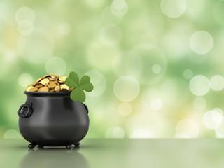 3d render of black pot full of gold coins with shamrock