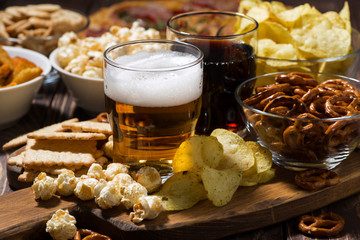 beer and an assortment of snacks