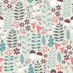 Forest Seamless Pattern. Vector Background with Nature Elements and Abstract Shapes. Seamless Pattern for Fabric, Paper and Other Printing.