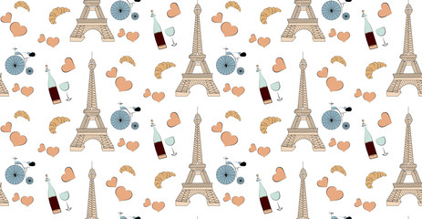 isolated seamless pattern with paris elements eiffel tower wine and bicycle