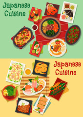 Japanese cuisine sushi and sashimi platter icon with seafood salad, shrimp, teriyaki pork, vegetable beef stew, grilled chicken and perch, chicken with mushroom, egg roll with eel, chicken liver