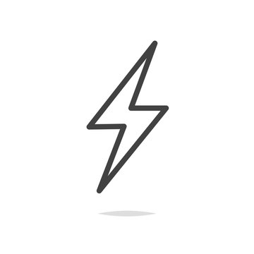 Thunder icon outline vector isolated