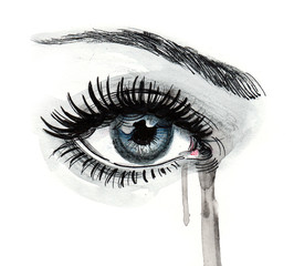 Beautiful crying eye
