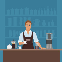 A smiling young man barista preparing coffee with coffee-machine vector in cafe restaurant.