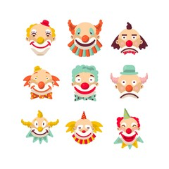 Clown faces vector isolated icons set.