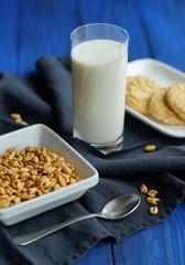 breakfast milk granules cookies on a blue wooden background