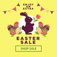 Easter sale poster for online shopping delivery or internet store promo discount web page.