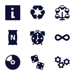 Set of 9 circle filled icons