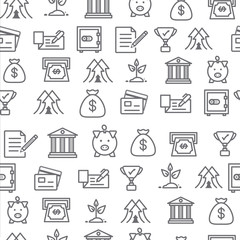Different line style icons seamless pattern, bank