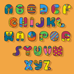 Colorful Alphabet. Superhero style.