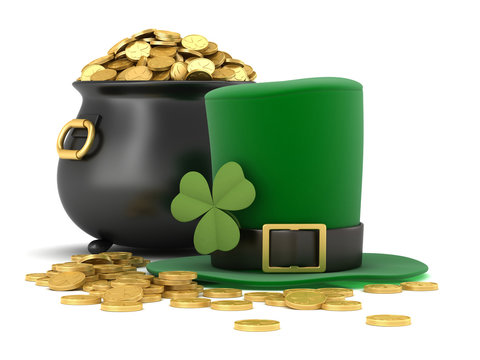 3d render of black pot full of gold coins and leprechaun hat