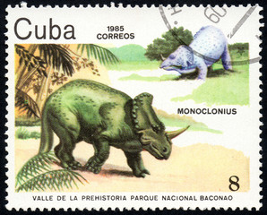 UKRAINE - CIRCA 2017: A stamp printed in Cuba, shows a extinct animals Monoclonius from the park of dinosaurs in the reserve Baconao, the series Valle de la prehistoria parque nac. Baconao, circa 1987