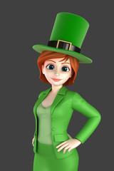 3d render of a woman wearing leprechaun hat