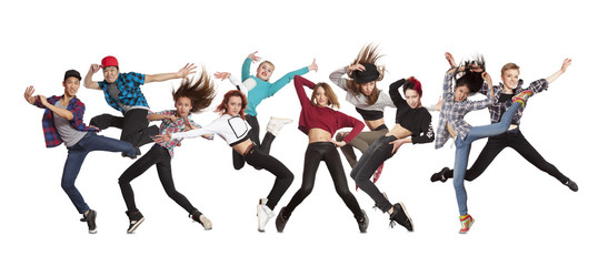 Young modern dancing group practice dancing