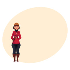 Canadian female policeman in traditional uniform - scarlet tunic and breeches, cartoon vector illustration with place for text. canadian Full length portrait of Canadian mounted female policemen