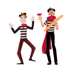Two French mimes in traditional costumes, wine and baguette as symbols of France, cartoon vector illustration isolated on white background. French mime comic characters