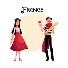 Couple of French characters, woman dressed in Parisian style, mime with wine and baguette, cartoon vector illustration with place for text. Typical French characters, fashionmonger and mime