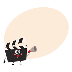 Funny cinema production clapper board, clapboard character with smiling human face, cartoon vector illustration with place for text. Cinema clapper board character, mascot, cinema object