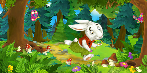 cartoon scene with running rabbit cheerful beautiful day