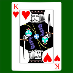 King hearts. Card suit icon vector, playing cards symbols vector