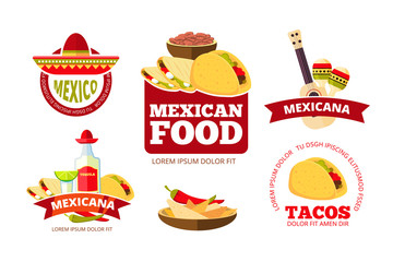 Vintage mexican restaurant graphics, tacos, burrito, salsa and nachos vector badges, labels, logos and emblems.