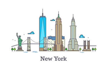 New york line vector symbol, nyc silhouette outline panorama, america skyline vector illustration