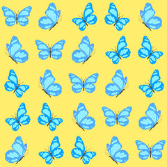 Seamless pattern. Vector illustration of butterfly on yellow background