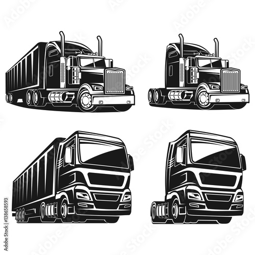 truck set black and white vector illustration stock image and