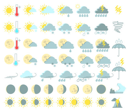 Weather set of colored icons. Rain and thunderstorms, sunny, tornado, tsunami, volcanic eruption. Vector