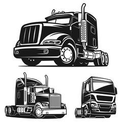 Truck SET black and white vector illustration