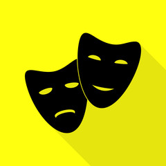 Theater icon with happy and sad masks. Black icon with flat style shadow path on yellow background.
