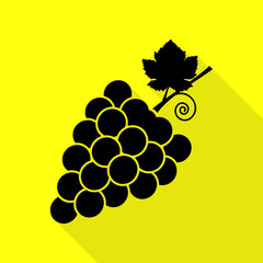 Grapes sign illustration. Black icon with flat style shadow path on yellow background.