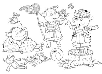 Three little pigs. Fairy tale. Illustration for children. Coloring page