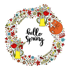 Hello Spring. Spring pattern. Frame - wreath. Isolated vector objects on white background.