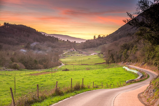 road to rural landscape at basque country, Spain