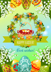 Easter Wishes festive poster. Easter egg hunt basket with painted eggs, encircled by Easter wreath of spring flowers, egg and grapevine, Happy Easter ribbon banner, lily of the valley and green leaves