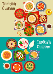 Turkish cuisine icon with meat soups, meatballs, vegetarian salads with feta, carrot ball, bulgur pilaf, nut baklava, fried cake, cereal dessert with bean, sweet chicken pudding with coffee