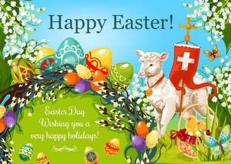 Easter Day cartoon greeting poster. Patterned Easter eggs, egg hunt basket with chickens, lily flowers, lamb of God, cross, floral Easter wreath of willow twigs with wishing of Happy Spring Holidays
