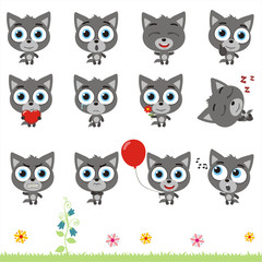 Big set cute little wolf. Collection isolated cartoon wolf in different poses.