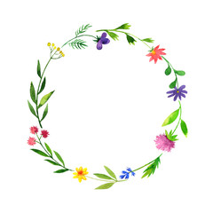 round frame with watercolor doodle plants and flowers