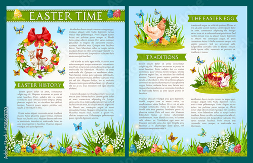 Easter Egg Hunt Celebration Traditions And History Brochure Template Eggs In Green Grass