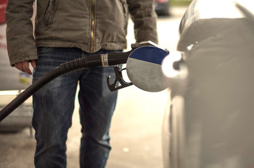 Foto op Plexiglas Refuel car with petrol