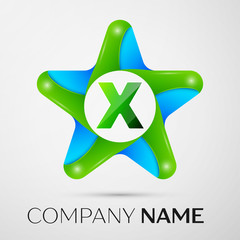 Letter X vector logo symbol in the colorful star on grey background. Vector template for your design