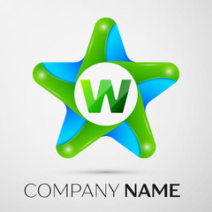 Letter W vector logo symbol in the colorful star on grey background. Vector template for your design