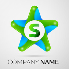 Letter S vector logo symbol in the colorful star on grey background. Vector template for your design