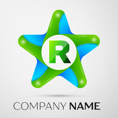 Letter R vector logo symbol in the colorful star on grey background. Vector template for your design