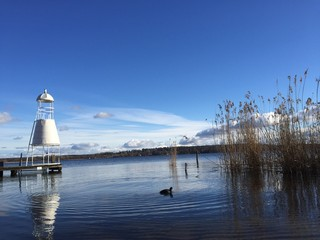 Winter am See, Wasser, Schilf, Himmel, leere Bootsstege, Sonne