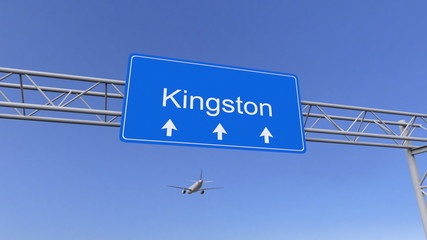 Commercial airplane arriving to Kingston airport. Travelling to Jamaica conceptual 3D rendering